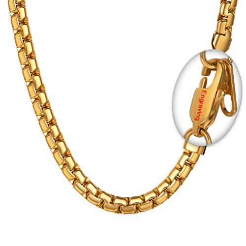 PROSTEEL personanlisiert Halskette Hochwertig Edelstahl Venezianierkette Box Kette 6MM Breite Herren Kette mit Karabinerverschluss, 66CM lang, Schwarz