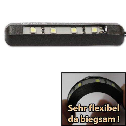 Motorrad LED Kennzeichenbeleuchtung, schwarz, biegsam, 4LED, 13,5 x 6mm, selbstklebend, E-geprüft