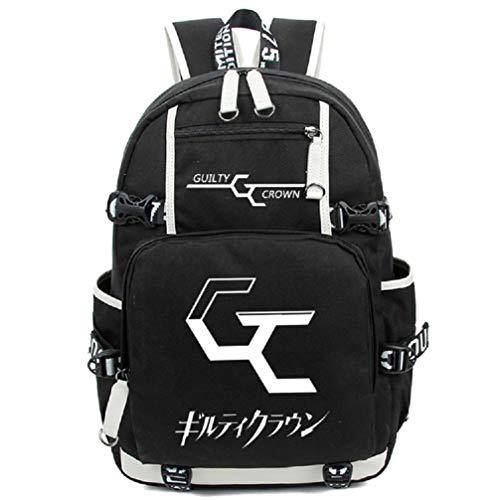 RuiHai Trading Guilty Crown Rucksack mit großem Fassungsvermögen aus Canvas und PU - Crown Hoodie