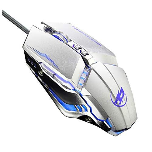 Deesee USB-Gaming-Maus mit Kabel, ergonomisches Design, programmierbar, 6 Tasten, 3200 dpi, mit LED, Light, weiß, For iPhone XS Max 5g 6. Generation Iphone
