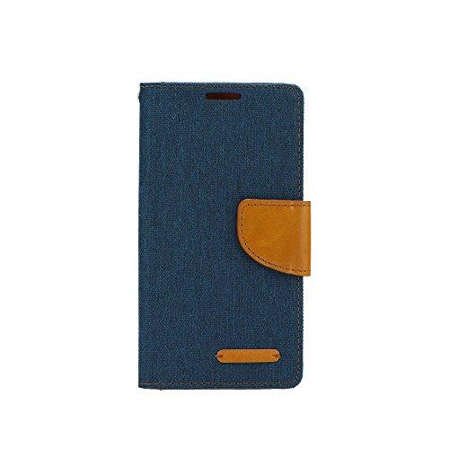 Élégant Portefeuille Housse Étui à rabat pour Apple iPhone x – Housse Coque Etui Cover Book Case Bleu/marron