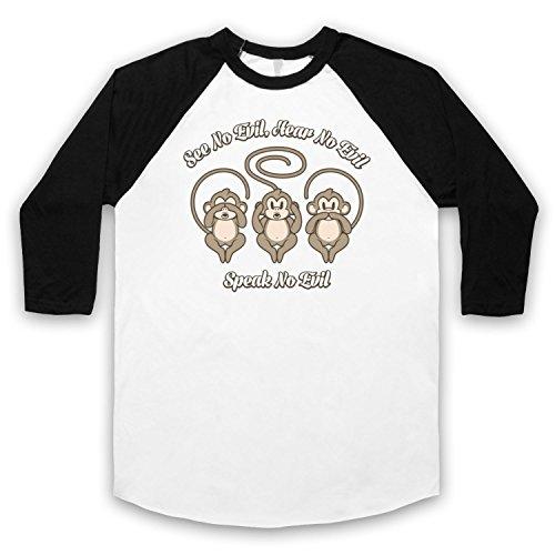 See No Evil Hear No Evil Speak No Evil Cute Monkeys 3/4 Hulse Retro Baseball T-Shirt Weis & Schwarz