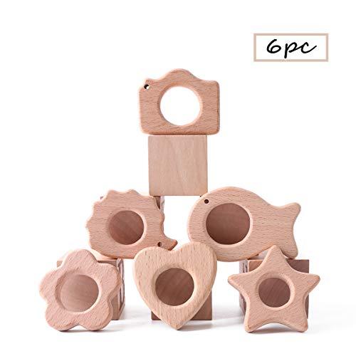 Best for baby 6pc Baby Teether Natural Buche hölzern DIY Anhänger Blume Schmetterling Fünfzackiger Stern Igel Herz Fisch Umweltfreundlich Montessori Spielzeug