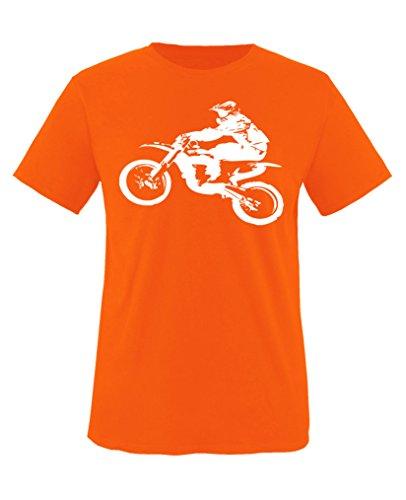 Comedy Shirts - Motorcross Motorrad - Jungen T-Shirt - Orange/Weiss Gr. 134-146 (Für Ist Gut-shirt Jungen Leben Das)