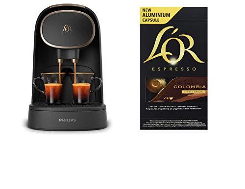 Pack Philips L'OR Barista LM8012/60 - Cafetera compatible con cápsula individual/doble, 19 bares presión,...