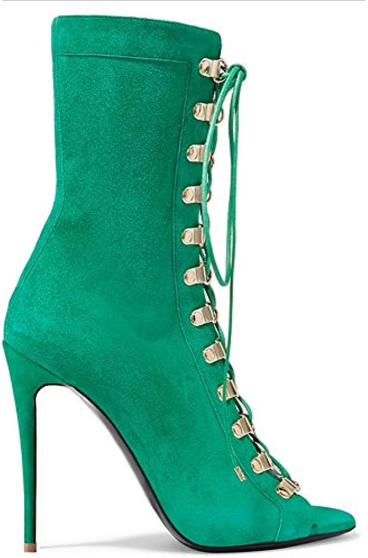 SYYAN Femmes Suède Bouche de Poisson Les bretelles , Manuel Pompe Cheville Bottes , green , bretelles 43 974e56