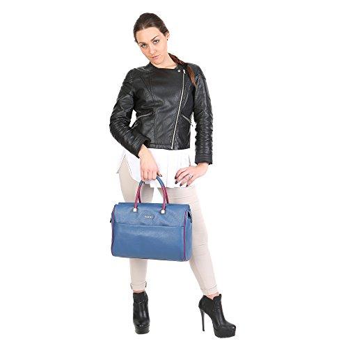 Trussardi Femme Big Boston Sac, Cuir Genuine Veau Made in Italy 36x25x15 Cm Mod. 76B263M Blu