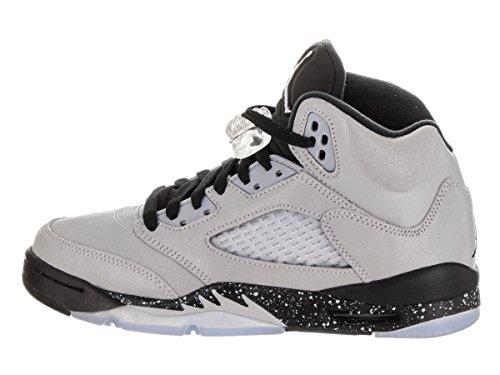 Nike Air Jordan 5 Retro Gg, espadrilles de basket-ball fille Gris (Wolf Grey / Black-Black)