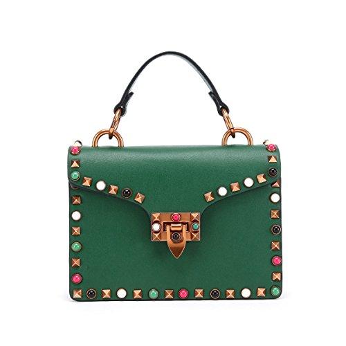 Yy.f Neue Lederhandtaschen Handtaschen Aus Leder Mode Nieten Schultertasche Tasche Wilde Frau Messenger Mehrfarbige Taschen C