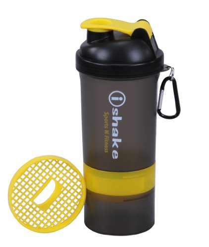 Ishake Smart 2 Storage Shaker Bottle 500 ml , (Soot Body, Yellow Lid)  available at amazon for Rs.294