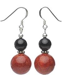 Ohrringe Ohrhänger aus Koralle Schaumkoralle & Onyx, rot schwarz, Ohrschmuck Damen