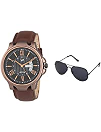 Watch Me Gift Combo Set Of Sunglasses And Black Dial Brown Leather Strap Day And Date Collection Series Analog...