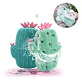 2 unids Cepillo de Ducha de Silicona, Diseño de Cactus Lindo Esponja Baño de Bebé Limpieza Corporal Fregadora Exfoliante Masaje Lavado de Cara Cepillos para niños y Adultos Verde Claro y Azul