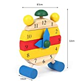 OSYARD Hand Made Wooden Clock Toys for Kids Learn Time Clock Educational Toys (Khaki)