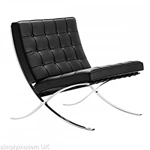modern interiors direct korb barcelona stuhl inspired by mies van der rohe schwarz aus. Black Bedroom Furniture Sets. Home Design Ideas
