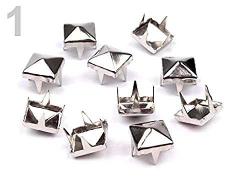 10 x Nieten für Kleidung und mehr 7x7mm Pyramiden platine *NEU*
