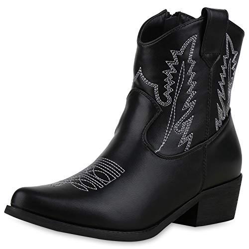 SCARPE VITA Damen Stiefeletten Cowboy Boots Western Schuhe Stickereien Stiefel 174018 Schwarz Weiss 38