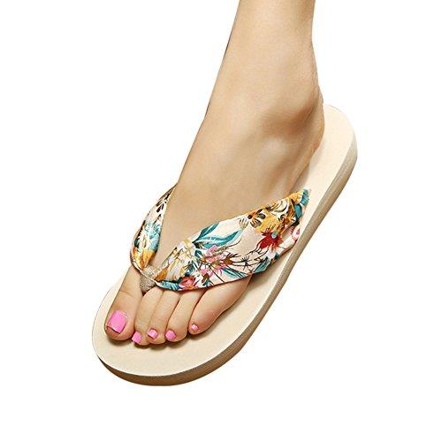 iKulilky Frauen Flip Flops Floral Satin Sommer Sandale Schuhe Leichte Strand Hausschuhe Bohemian Dicke Sohle Wasser Schuhe Badeschuhe