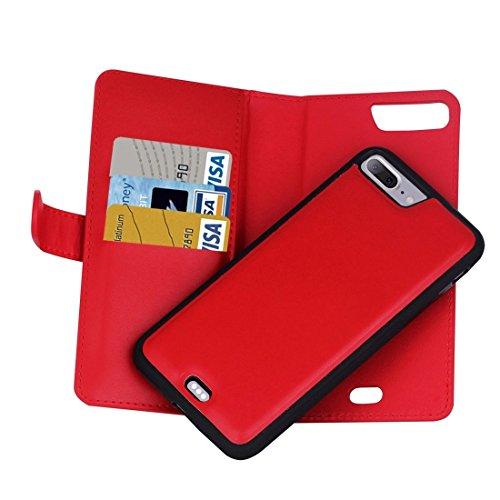 Buona Casa- Per iPhone 7 Plus Plain Weave Texture Zipper Cinturino orizzontale in cuoio con custodia protettiva e posteriore staccabile e slot per carte e portafogli ( Color : Pink ) Red