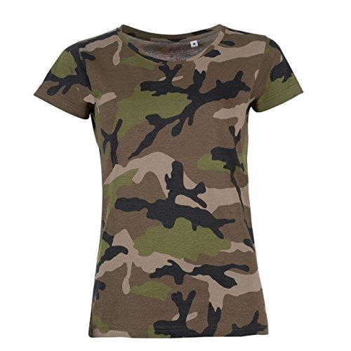 SOLS Damen T-Shirt mit Tarnmuster, Kurzarm M,Camouflage (Baumwolle Camouflage T-shirt)
