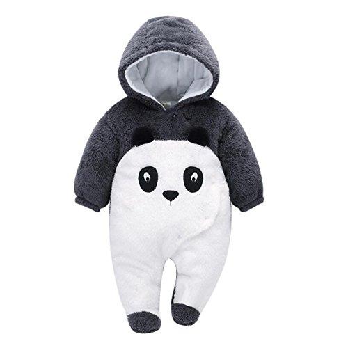 Vlunt Épaisse Combinaisons Bébé Barboteuse Fermeture Boutons Grenouillères pour Bebe Fille Garçon, Automne et Hiver Vêtements de Bébé Adorable Romper (Panda, 0-3 Mois)