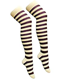 2176a7ef902902 CRAZY CHICK New Ladies Girls Stripe Stripy Striped Over The Knee Thigh High  Long Socks Assorted Colours UK Size.