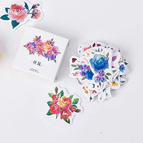 Enipate 45 Stück schöne Blumen Mini Papier Aufkleber Dekoration DIY Album Tagebuch Planer Scrapbooking Aufkleber Kawaii Schreibwaren - Album Foto Kawaii