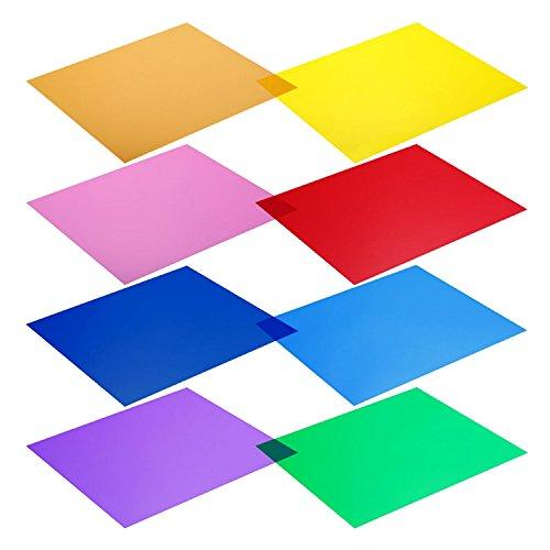 Vococal Farbfilter folie, gel filter,8 STÜCKE Sortierte Farbe Transparente Korrektur Licht Gel Filterfolie Blatt für Fotostudio LED Strobe Taschenlampe 30x30 cm 12x12 inch