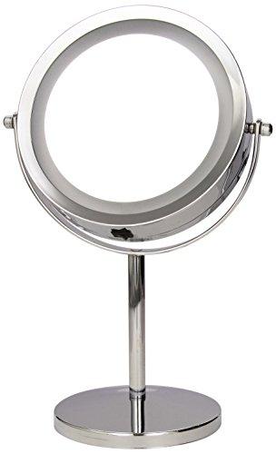 axentia Vergrößerungs-Leuchtspiegel in Silber, rostfreier LED-Kosmetikspiegel verchromt, robuster...