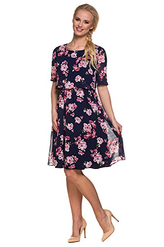 My Tummy Mutterschafts Kleid Stillkleid Aurora Blumen rosa Navy