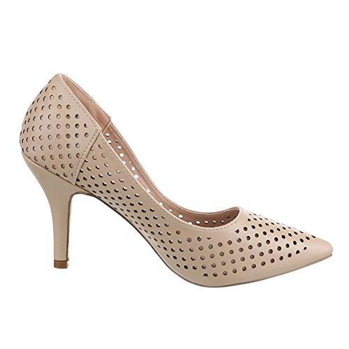 Ital-Design - Scarpe con Tacco Donna Beige (beige)