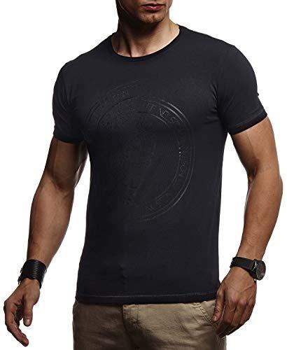 LEIF NELSON Herren Sommer T-Shirt Rundhals-Ausschnitt Slim Fit Baumwolle-Anteil | Basic Männer Totenkopf T-Shirt Crew Neck Hoodie-Sweatshirt Kurzarm lang | LN4395 Schwarz Large Crew Print Sweatshirt