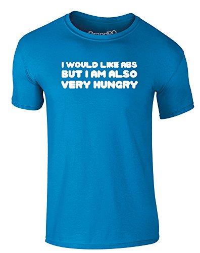 Brand88 - I Would Like Abs, Erwachsene Gedrucktes T-Shirt Azurblau/Weiß