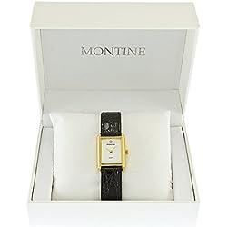 Montine Gents Mens Black Strap Gold Tone Case Quartz Wrist Watch DN001S1GIPG