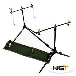 NGT Rod pod pour pêche à la carpe, 3 détecteurs de touche, housse et balanciers