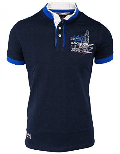Herren Polo-Shirt · Regular Fit · Sportliches Polo Kurzarm-Shirt · Baumwoll-Polyester-Mix T-Shirt mit detailreicher Stickerei · Stehkragen mit Kontrast-Innenseite · H1492 in Markenqualität Dunkelblau