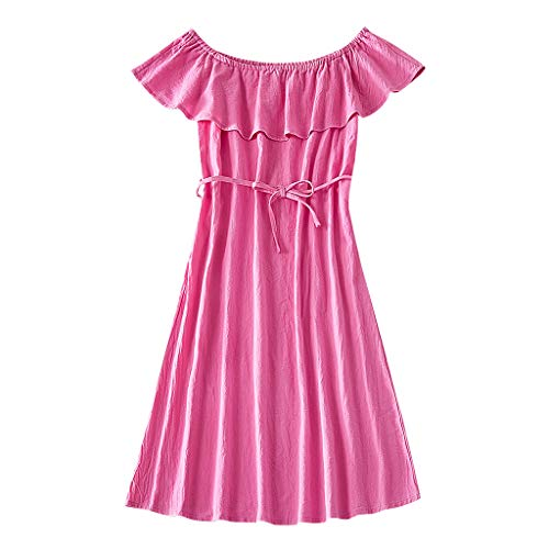 Livoral Lady Mommy Sleeveless Solid Schulterfreies Kleid Passende Kleidung für die ganze Familie(Rosa(Mutter),Small)
