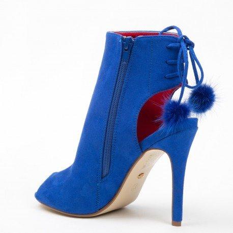 Ideal Shoes - Bottines peep toe ouvertes à l'arrière et effet daim Janaelle Bleu