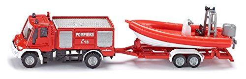 Siku - 1636F - Véhicule sans piles  -  Unimog pompiers avec bateâu - 1,64 ème 5130031356809