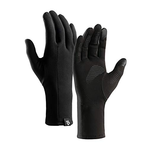 FengNiao Laufhandschuhe, Winddicht, Touchscreen-Handschuhe, leicht, für Radfahren, Wandern, Klettern, Kompressionshandschuhe für Männer und Frauen, schwarz, Large - Kaltes Wetter Schießen Handschuhe