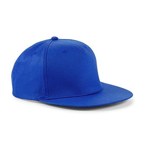 Cappellino Con Visiera Piatta Uomo Cappello Rapper Beechfield Regolabile Cotone, Colore: Azzurro, Taglia Unica