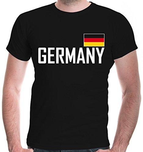 buXsbaum Herren T-Shirt Germany | Deutschland Allemagne Alemania Europa Ländershirt Fanshirt Trikot Reise | L, (Tourist Kostüm Mädchen)