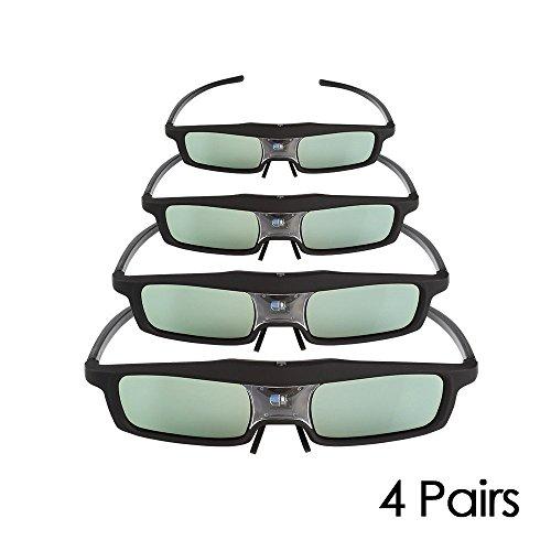 SainSonic Rainbow 3d gafas for DLP Black–Pack of 4