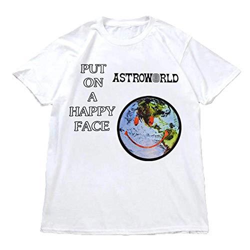 Herren Frühling Sommer Casual Kurzarm Rundhalsausschnitt Travis Scott Astroworld Regular Fit T-Shirt Tops (XXL, Weiß) (Die Spielen Spiele, Können Vinyl Wir)