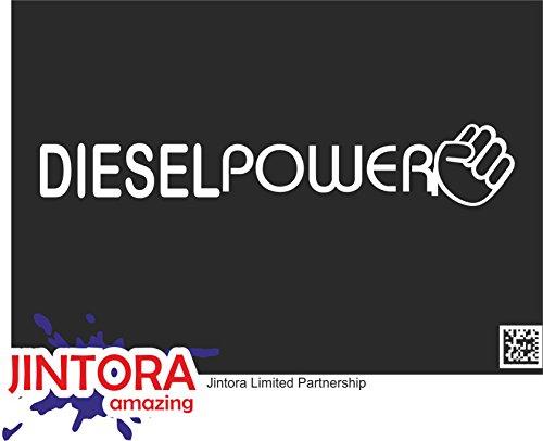 JINTORA Aufkleber für Auto/Autoaufkleber - JDM - Die Cut - Diesel Power - 210x40 mm - JDM/Die Cut - Bus - Fenster - Heckscheibe - Laptop - LKW - Tuning - weiß