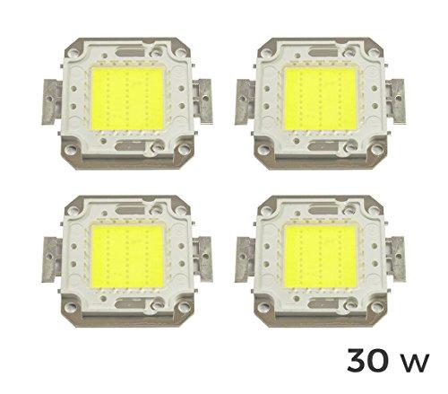 Pack 4Blutplättchen LED-Scheinwerfer LED kaltweiß 6500K-30Watt. MWS