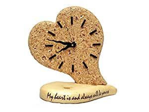 Spangel Fashion Valentine Special Lovely Heart Wooden Analog Table Clock (Size - 10 x 4.5 x 10.5 inch)