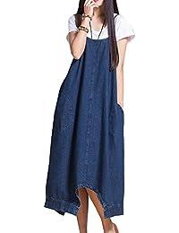 Donna Salopette Abito Vestito Jeans Elegante Baggy Tuta Jumpsuit Jeans Vita Alta  Larghi Pantaloni Harem( de36b4d6e5f
