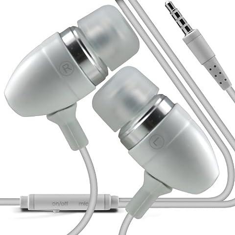ONX3 T-Mobile Garminfone Calidad Premium en auriculares de botón estéreo de manos libres de auriculares Auriculares con micrófono Mic y botón de encendido y apagado (Blanco)