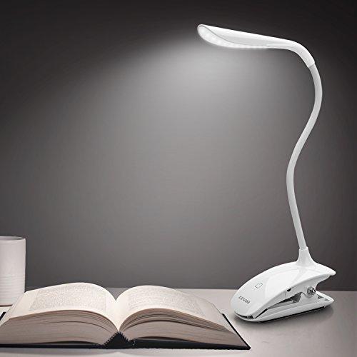 Leselampe klemmen, LED Klemmleuchte buch Dimmbar Schreibtischlampe Augenschutz Flexible Nachttischlampe LED nachladbare klemmlampe kinder mit Touch-Dimmer, 3-Stufe Helligkeit weiß